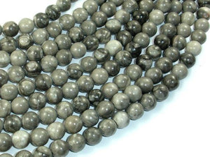 Black Fossil Jasper Beads, 8mm(8.3mm) Round Beads-BeadXpert