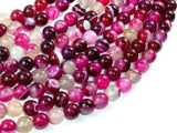 Banded Agate Beads, Fuchsia Agate, 8mm Round Beads-BeadXpert