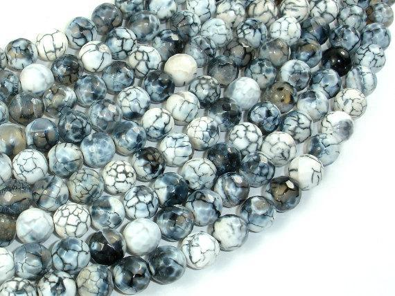 Dragon Vein Agate Beads, Gray & White, 8mm Faceted Round Beads-BeadXpert