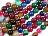 Banded Agate Beads, Striped Agate, Multi Colored, 8mm Round Beads-BeadXpert