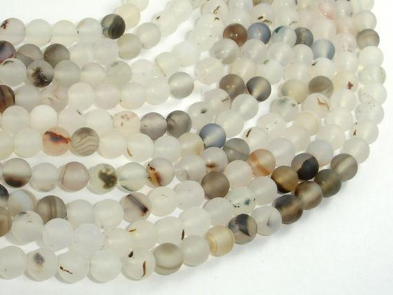Frosted Matte Agate-White, Gray, 6mm Round Beads-BeadXpert