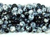 Rain Flower Stone Beads, Black, White, 8mm Round Beads-BeadXpert