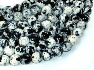 Rain Flower Stone, Round Beads, Black, White, 10mm-BeadXpert