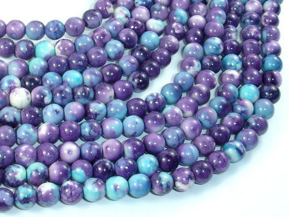 Rain Flower Stone Beads, Blue, Purple, 6mm Round Beads-BeadXpert