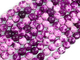 Rain Flower Stone, Purple, White, 8mm Round Beads-BeadXpert