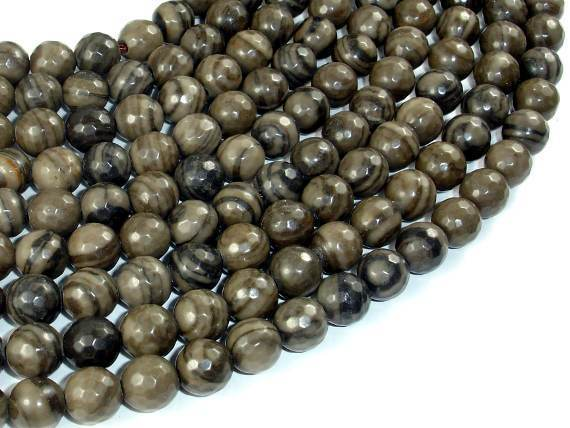 Coffee Jasper, 8mm Faceted Round Beads-BeadXpert