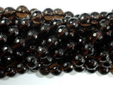 Smoky Quartz Beads, 8mm Faceted Round Beads-BeadXpert