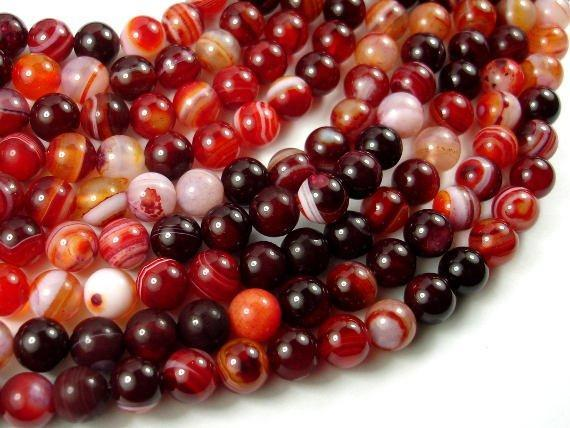 Banded Agate Beads, Red & White, 8mm Round-BeadXpert