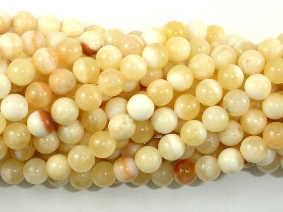 Honey Jade Beads, 6mm Round Beads-BeadXpert