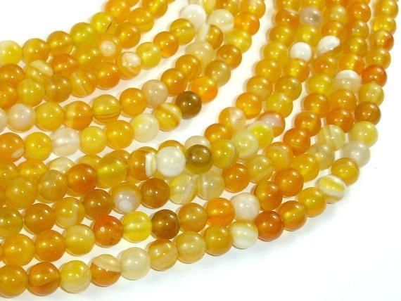 Banded Agate Beads, Yellow, 6mm Round-BeadXpert