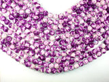 Rain Flower Stone, Purple, White, 10mm Round Beads-BeadXpert