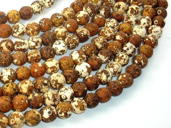 Matte Antique Agate Beads, 8mm Round Beads-BeadXpert