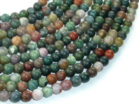 Matte Indian Agate Beads, Fancy Jasper Beads, 6mm-BeadXpert