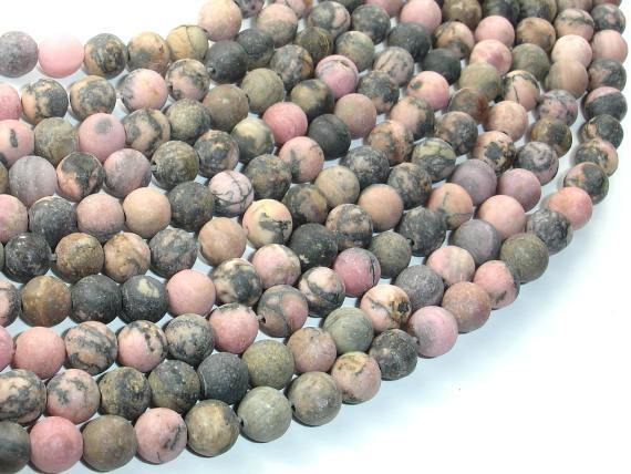 Matte Rhodonite Beads, 6mm, Round Beads-BeadXpert