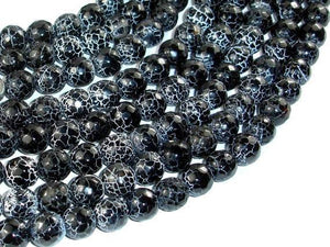 Black Crackle Agate, 10mm (9.5mm) Faceted Round Beads, 14 Inch-BeadXpert
