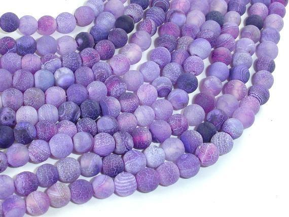 Frosted Matte Agate - Purple, 6mm Round Beads-BeadXpert