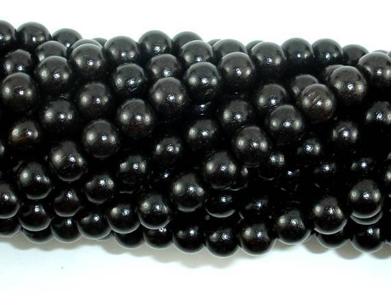 Black Sandalwood Beads, 6mm (6.3mm) Round-BeadXpert