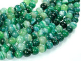 Banded Agate Beads, Green, 10mm(10.5mm)-BeadXpert