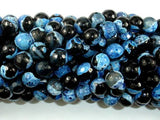 Agate Beads, Blue & Black, 8mm Faceted Round-BeadXpert
