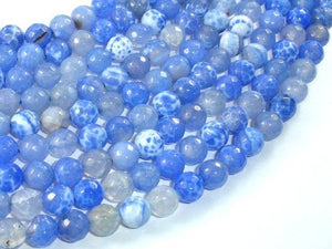 Fire Agate Beads, Blue & White, 8mm Faceted Round Beads-BeadXpert