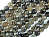 Dragon Vein Agate Beads, Black & Clear, 8mm Faceted Round Beads-BeadXpert