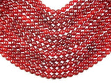 Red Jade Beads, Faceted Round, 10mm-BeadXpert