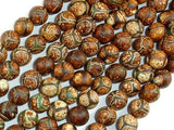 Crackle Tibetan Agate, 8mm Round Beads-BeadXpert