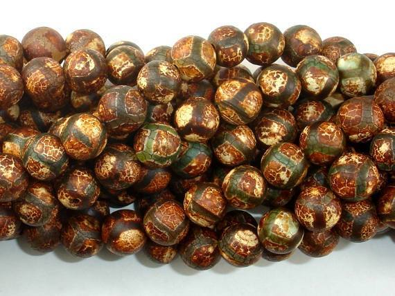 Crackle Tibetan Agate, 10mm Round Beads-BeadXpert