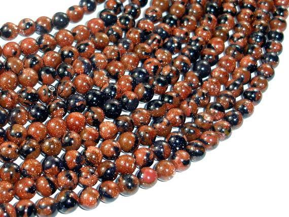 Gold Blue Sand Stone Beads, 6mm Round Beads-BeadXpert