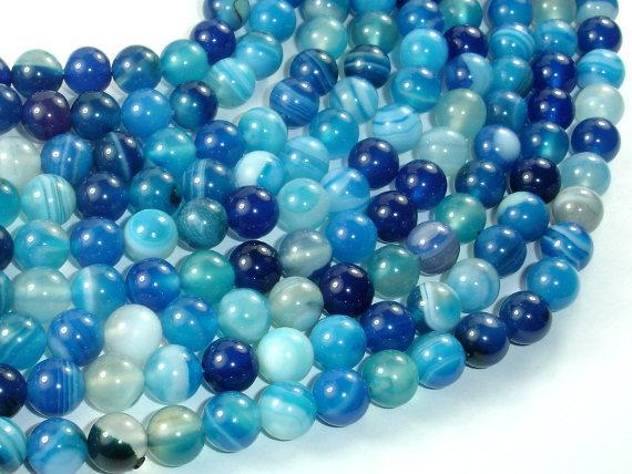 Banded Agate Beads, Striped Agate, Blue, 8mm Round Beads-BeadXpert