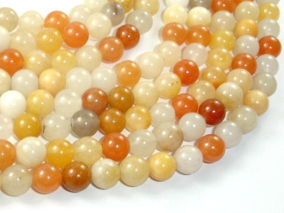 Yellow Jade Beads, 8mm (8.5mm) Round Beads-BeadXpert