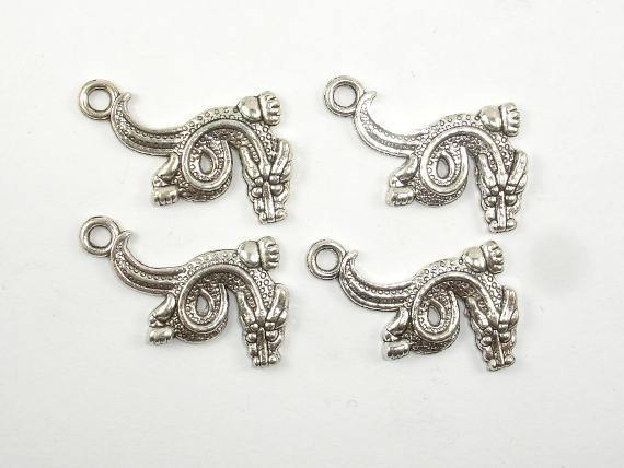 Dragon Charms, Zinc Alloy, Antique Silver Tone, 22x30 mm, 10 pcs, Hole 2.4mm (006873079)