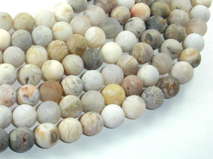 Matte Bamboo Leaf Agate, 10mm Round Beads-BeadXpert