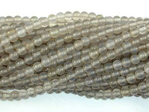 Gray Agate Beads, 4mm, Round Beads-BeadXpert