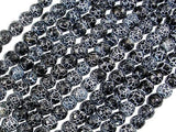 Black Crackle Agate, 6mm Faceted Round Beads, 13 Inch-BeadXpert
