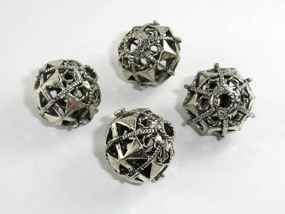 Metal Beads, Metal Hollow Round Spacer, Zinc Alloy, Antique Silver Tone 2pcs-BeadXpert