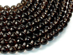 Smoky Quartz Beads, 10mm Faceted Round Beads-BeadXpert
