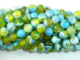Agate Beads, Blue & Green, 8mm(8.4mm) Faceted-BeadXpert