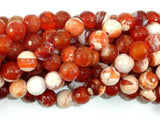 Fire Agate Beads, Orange & White, 10mm Faceted Round-BeadXpert