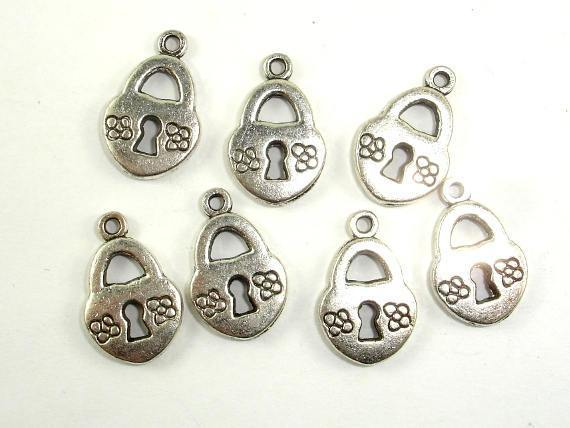 Lock Charms, Zinc Alloy, Antique Silver Tone 20pcs-BeadXpert