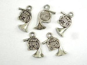 French Horn Charms, Zinc Alloy, Antique Silver Tone-BeadXpert