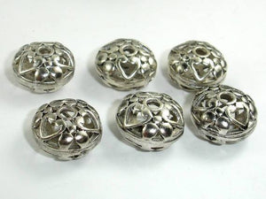 Metal Beads, Metal Hollow Flat Round Spacer, Zinc Alloy, Antique Silver Tone 4pcs-BeadXpert
