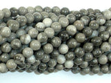 Black Fossil Jasper Beads, 6mm (6.3mm) Round Beads-BeadXpert