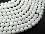 Matte White Jade Beads, 8mm Round Beads-BeadXpert