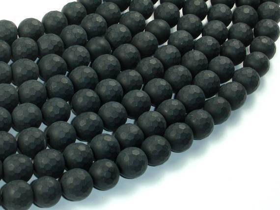 Matte Black Onyx Beads, 10mm Faceted Round-BeadXpert