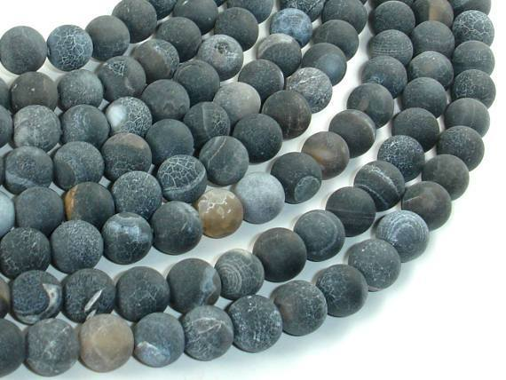 Frosted Matte Agate - Gray, 8mm Round Beads-BeadXpert