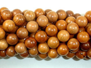Taxus Chinensis Wood Beads, 10mm Round Beads-BeadXpert