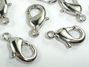 Lobster Claw Clasp, Rhodium Plated Copper, 20 pcs-BeadXpert