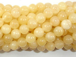Yellow Jade Beads, Round, 8mm (8.5mm)-BeadXpert