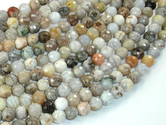 Bamboo Leaf Agate Beads, 6mm(6.4mm) Faceted Round Beads-BeadXpert